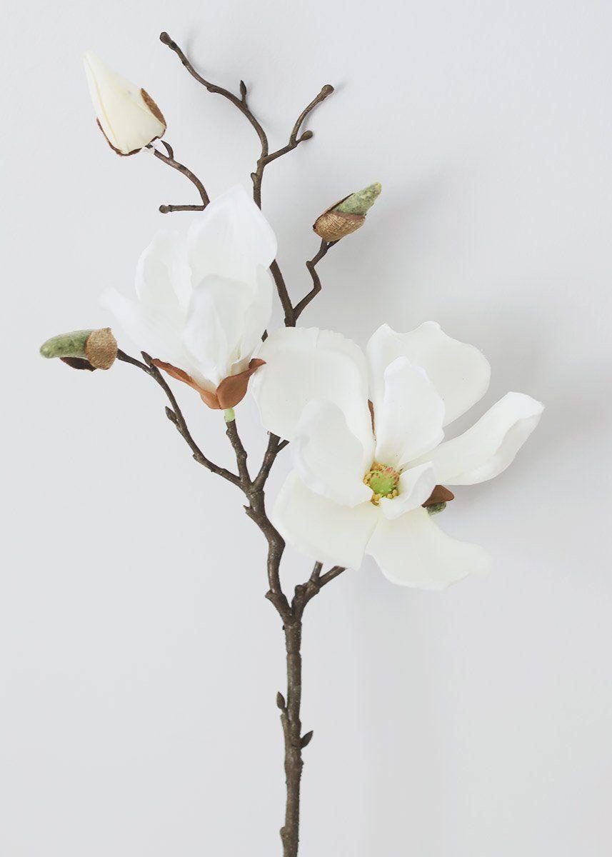 Silk Magnolia In Cream White 19 Magnolia Branch Magnolia Flower Silk Flowers Wedding