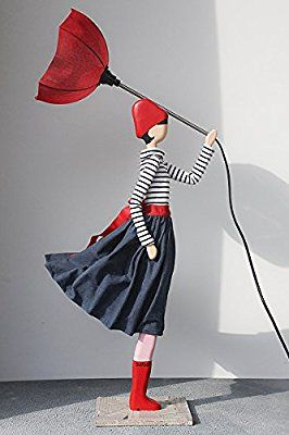 Vintage SKITSO DESIGN LUXUS LAMPE Figur Nicoleta Leuchte mit Schirm Deckenfluter Unikat Stehlampe