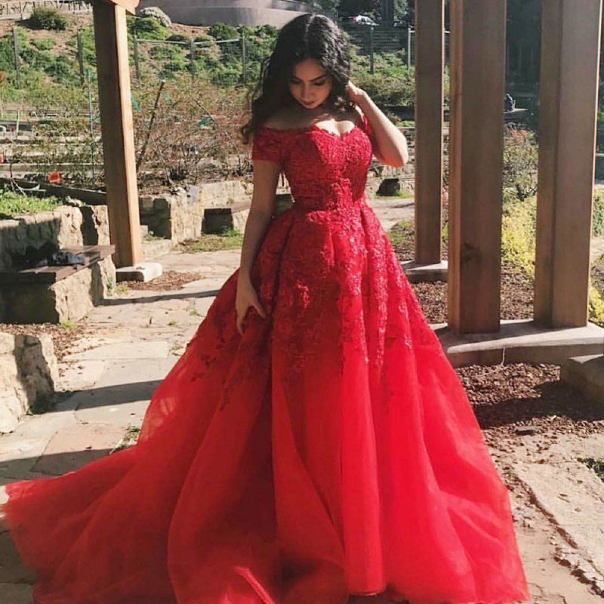 Aline off the shoulder court train red tulle prom dress with lace