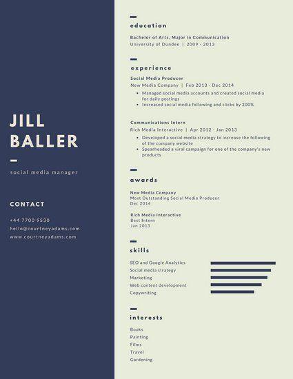 Marine Vertical Infographic Resume Resume Design Pinterest
