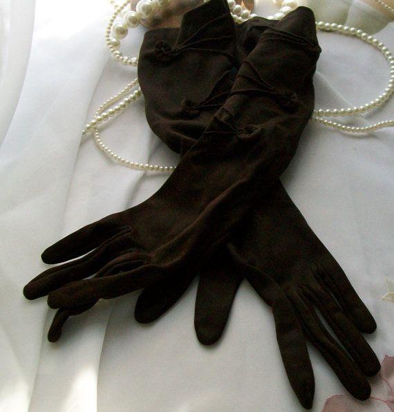 Vintage Formal Dress Gloves Chocolate Brown Gloves Size 6 Nylon