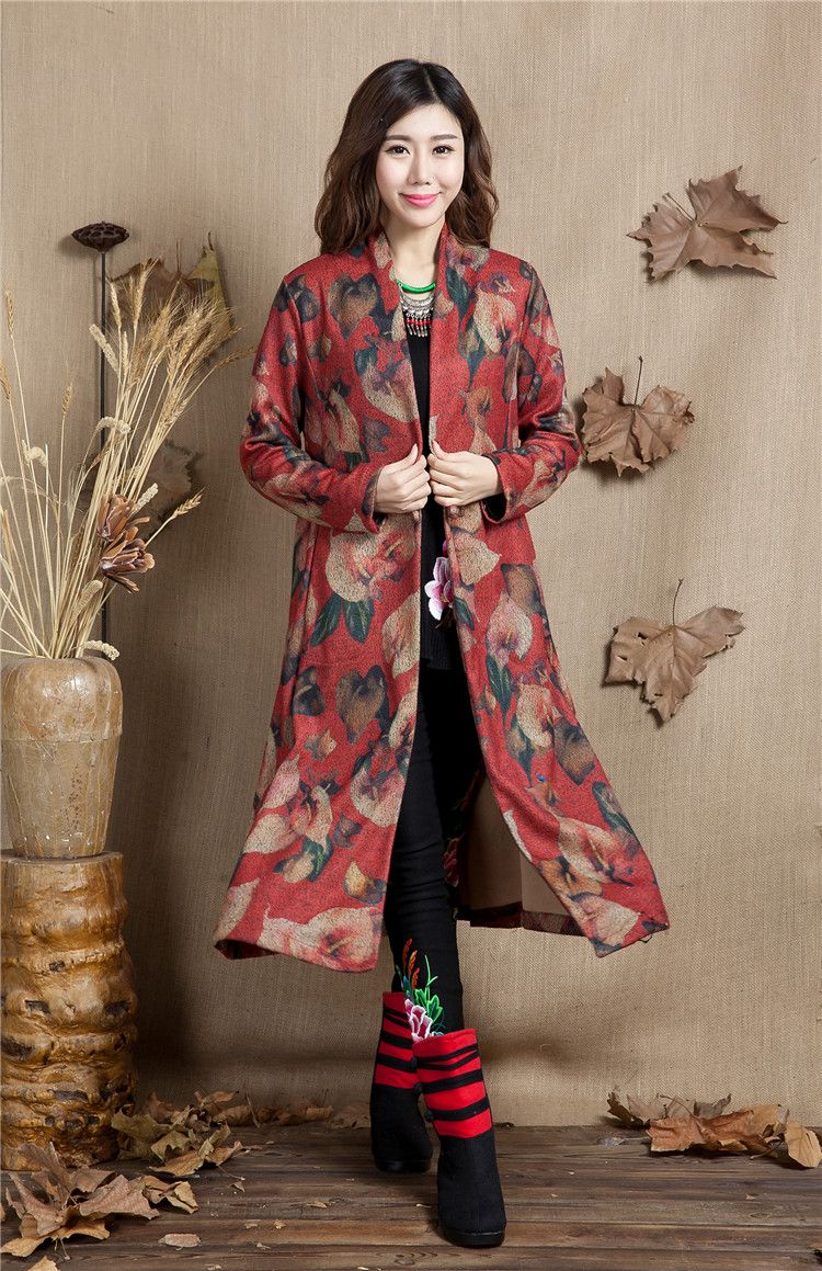 Chinese Style Women Trench Coat Extra Long Vintage Embroidery Flowers Sleeve wool Coat Plus Size