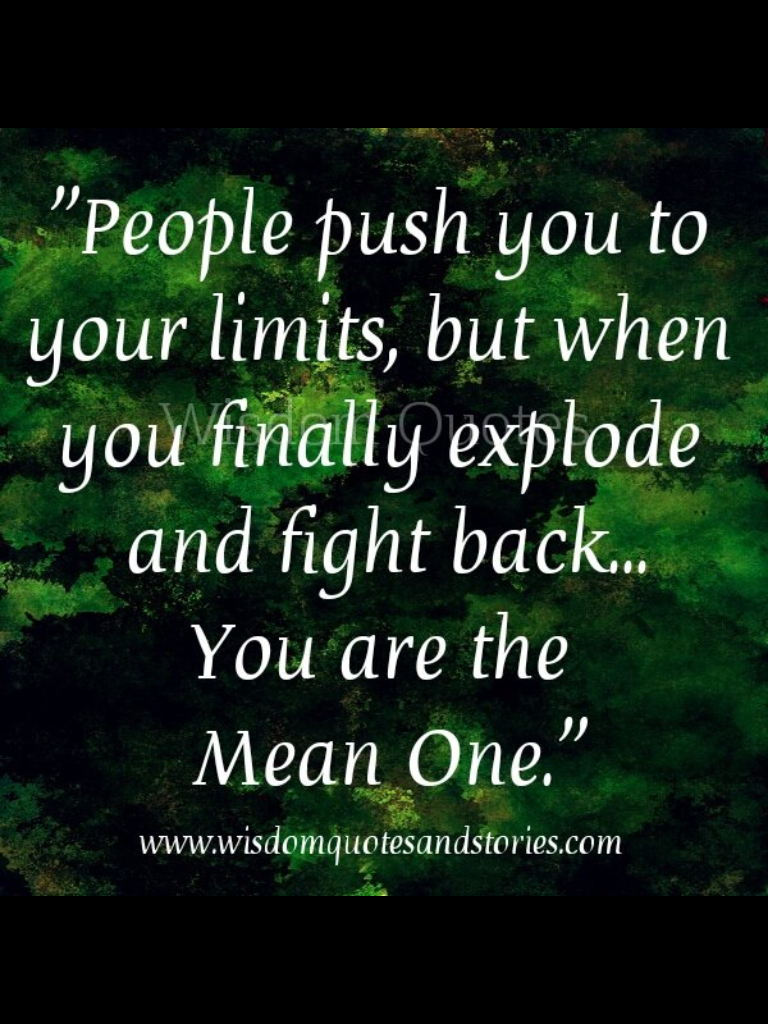 Yes Im the mean one when all youve done is push me. I