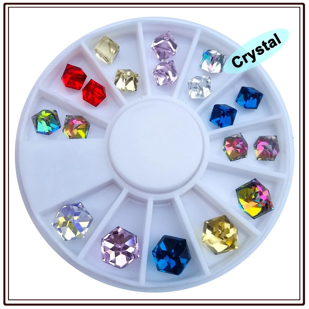24PCS/Wheel 3-dimensional Fantasy 3D Glasses Crystal Nail Charms ...