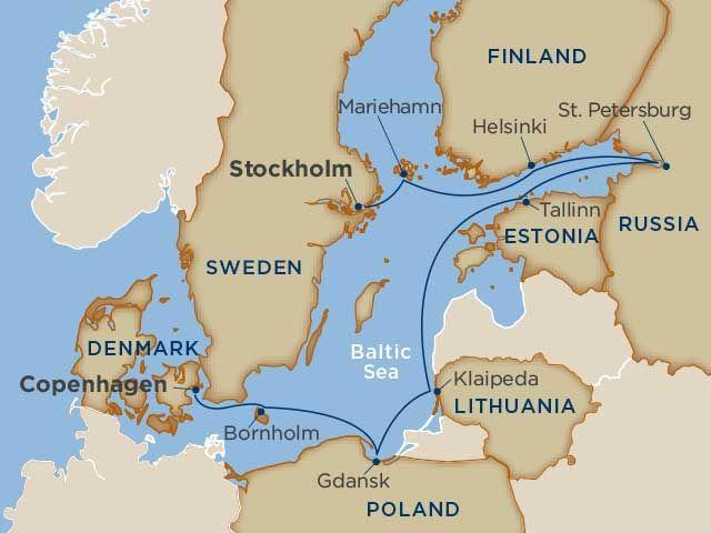 Baltic Sea Cruises Tallink and Silja Line routes connect Finland - new world map denmark copenhagen