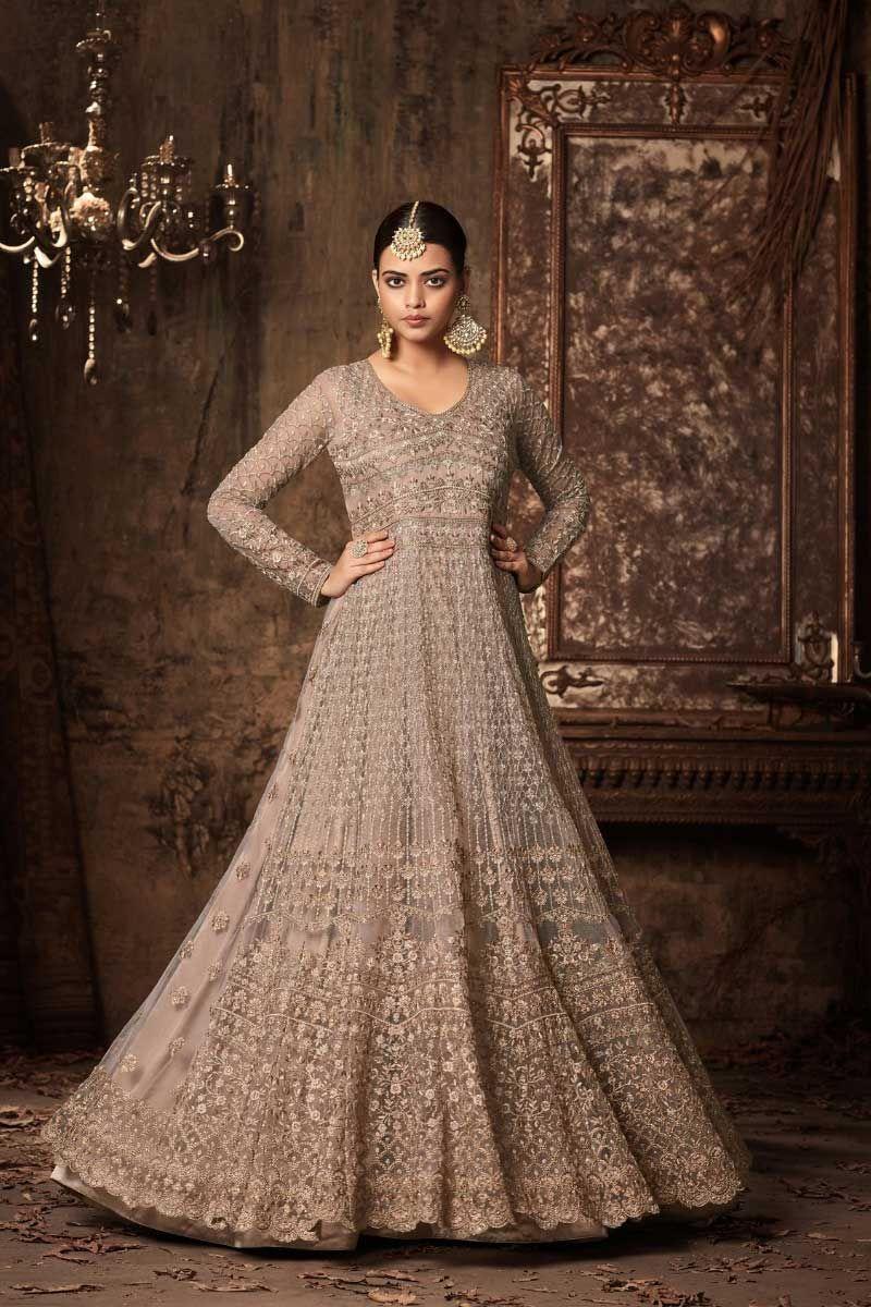 02b51a47e0 Brown-Heavy-Embroidered-Pakistani-Style-Wedding-Wear-Long-Sleeve-Floor-Touch -Anarkali-Suit-46001-14488 Catalog No : 4307 WWW.LKFABKART.