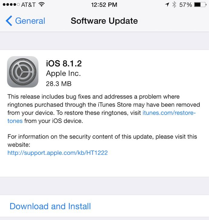 iOS 8.1.2 For iPhone, iPad, iPod Touch Released, Is