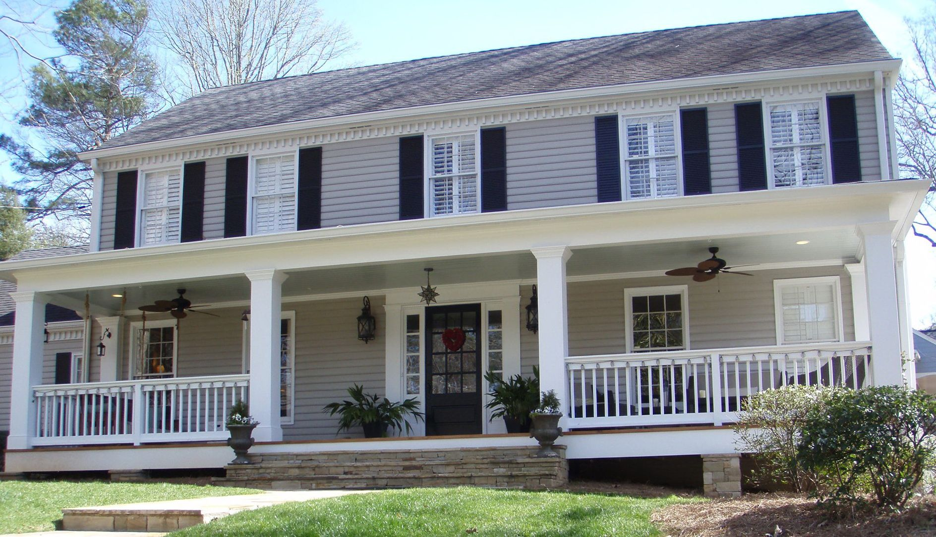 colonial homes with front porches - google search | exterior