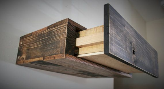Reclaimed Pallet Wood Floating Shelf With Hidden Drawer Tv Console