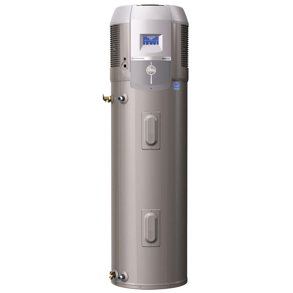 Rheem Ecosense 50 Gal Tall 12 Year Hybrid Electric Water Heater With Heat Pump Technology Electric Water Heater