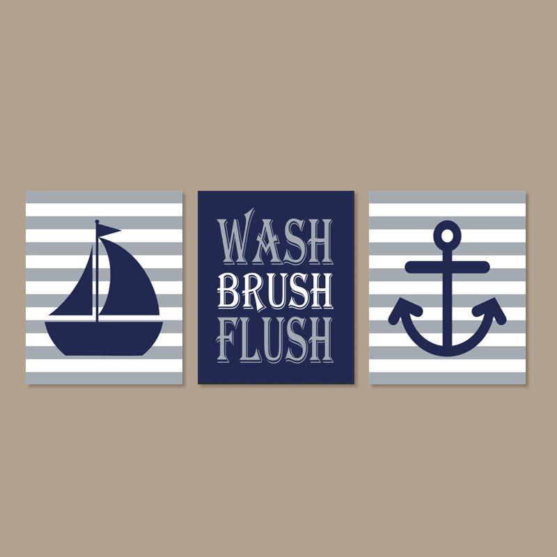 Kids Nautical Bathroom Art, Wash Brush Flush Bathroom Art, Navy Gray  Bathroom, Bathroom Rules, Boy Bathroom Art, Set Of 3 Prints Or Canvas
