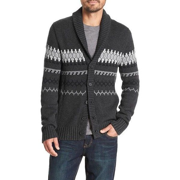 Banana Republic Men Fair Isle Shawl Collar Cardigan (€33) ❤ liked ...