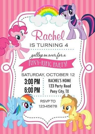 Diy My Little Pony Invitations Google Search My Little Pony