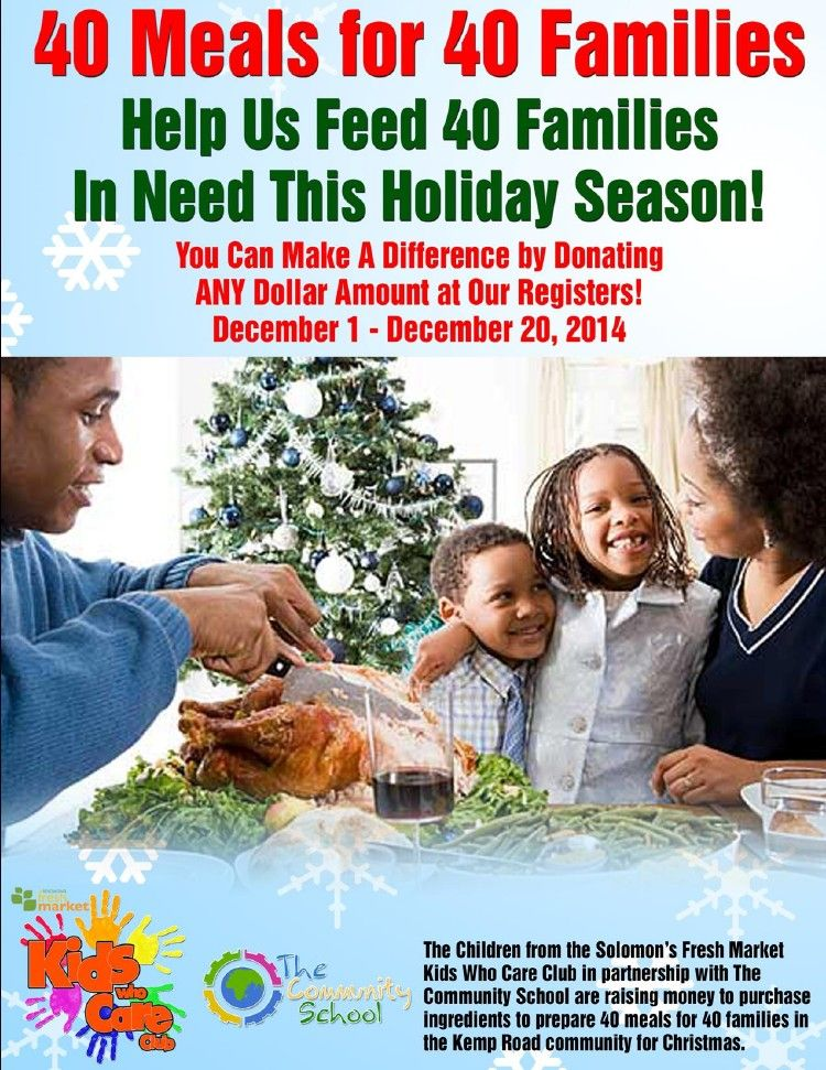 You can help 40 families this holiday season Make a difference by