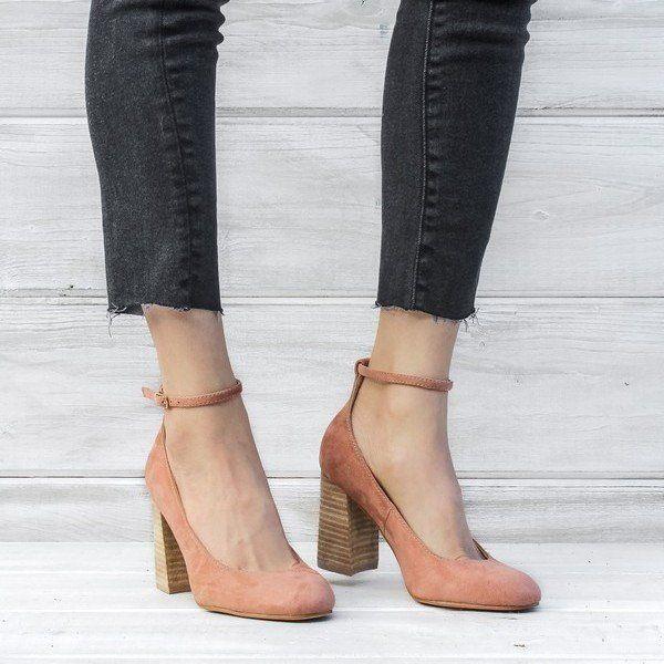 Public Desire Denim Always Studded Strappy Block Heels In