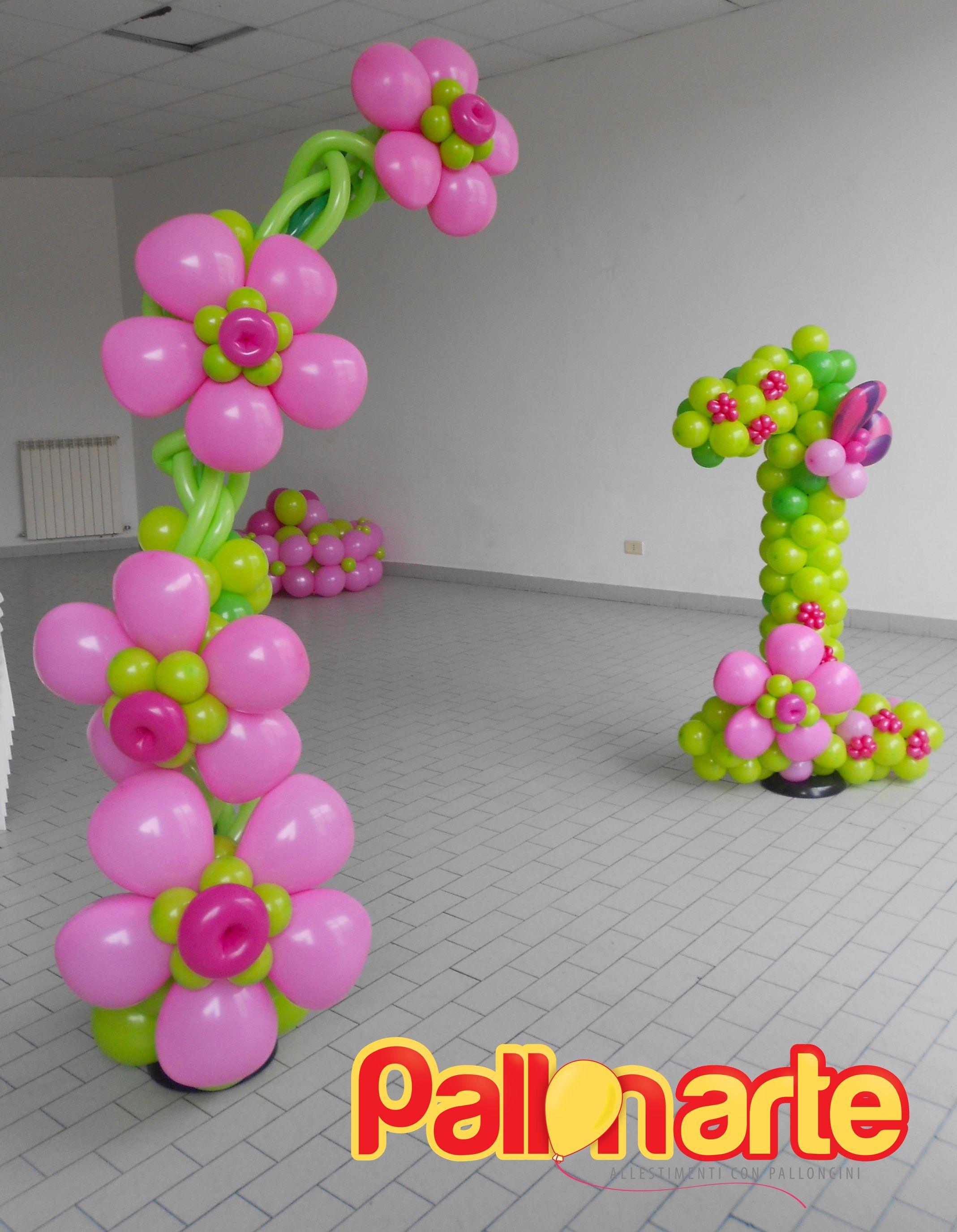 Flowers balloons 1st birthday decor