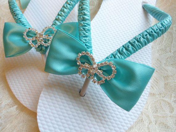 79ba00f675b81 Aqua Blue wedding sandals. Bridal flip flops decorated w  rhinestone  butterfly. Maid of honor gift