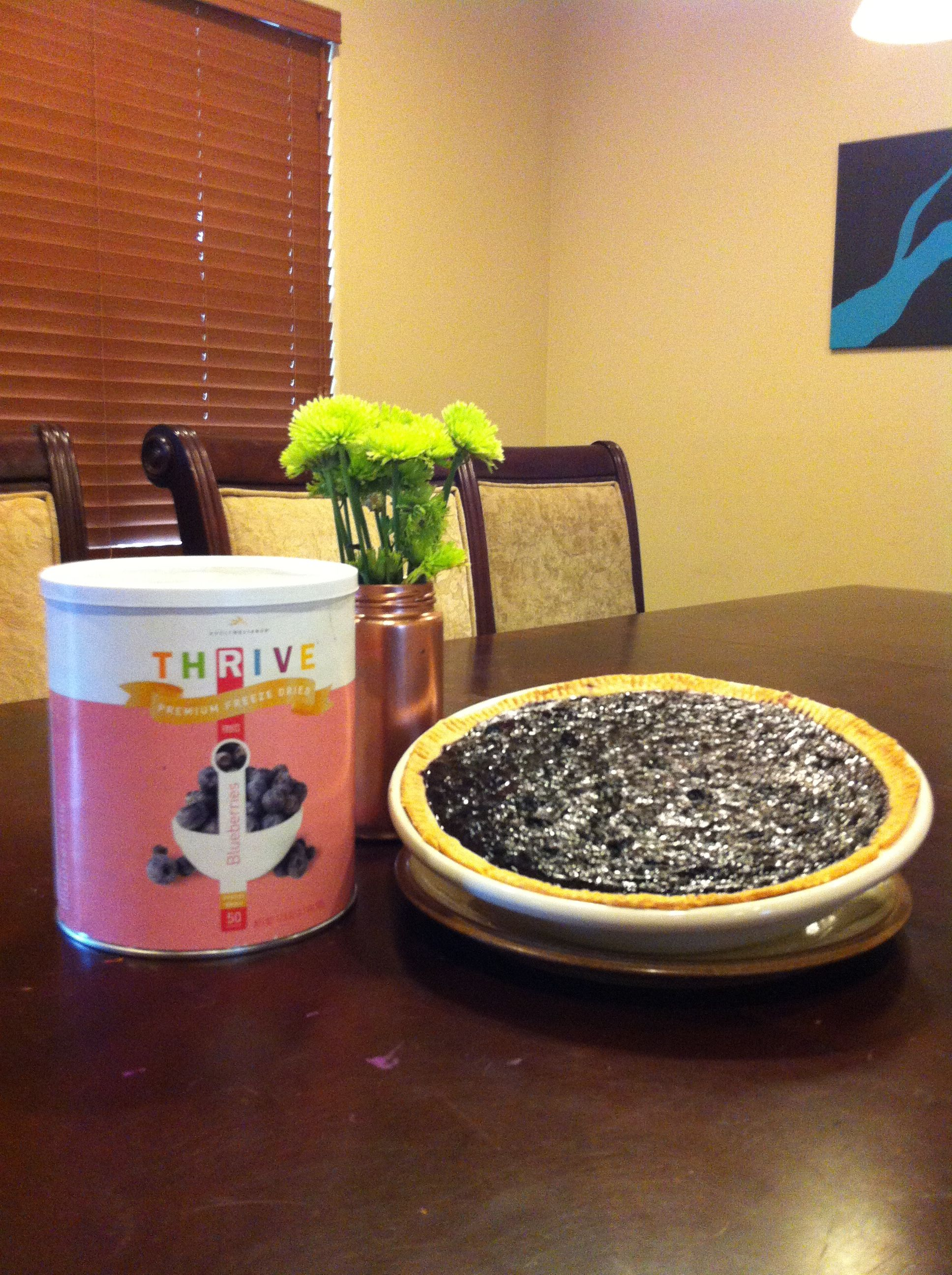 Surprisingly delicious blueberry pie from Thrive freeze dried blueberries! Half 10# can of dried blueberries, 3-4 cups water, and at least 1 cup sugar, more if you want it sweeter. Bring to a boil and then let simmer until it thickens. 30-45 mins depending on how much water you added. If it looks too runny let it simmer longer. Will reduce to about half.  Pour into uncooked pie crust, I like Pillsbury. Cook 350 for 40 mins or until set.