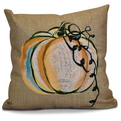 "Alcott Hill Miller Pumpkin Fest Geometric Throw Pillow Size: 20"" H x 20"" W x 2"" D, Color: Taupe"