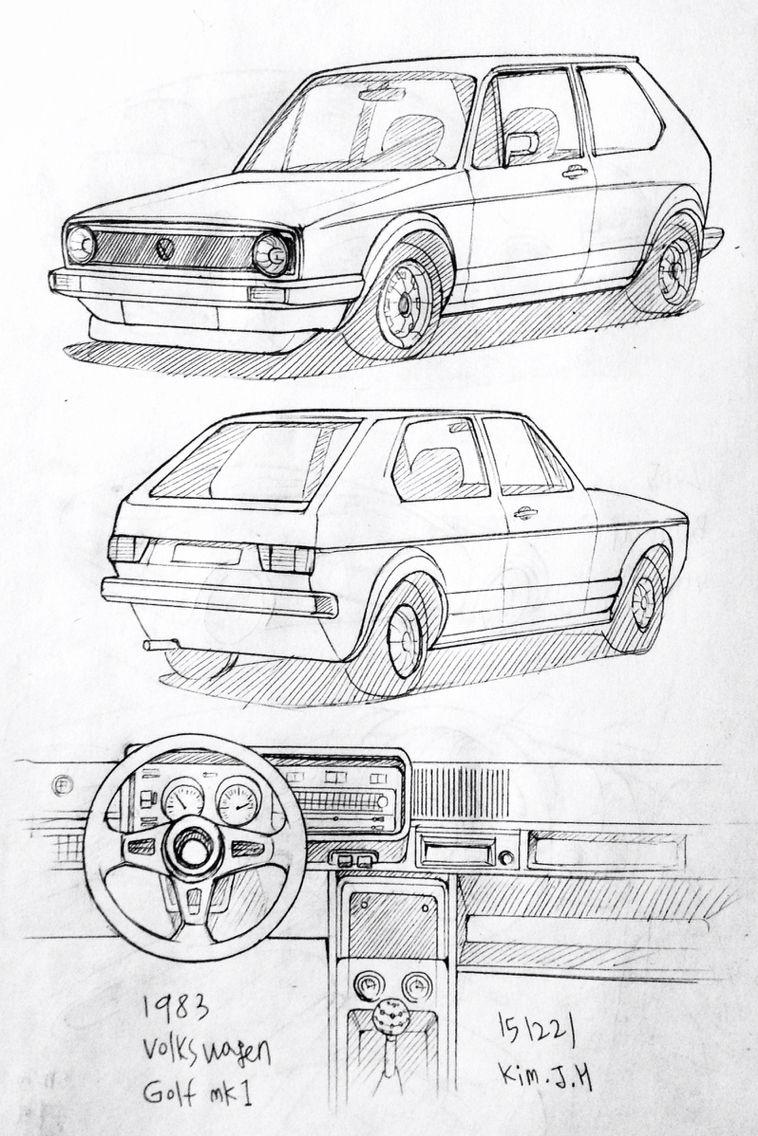 car drawing 151221 1983 volkswagen golf mk1 prisma on paper kim j h