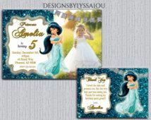 Princess Jasmine Invitation Princess Birthday Invitations Aladdin