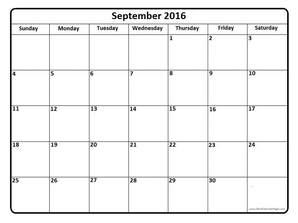 September 2016 printable calendar page Printable calendars - blank calendar template