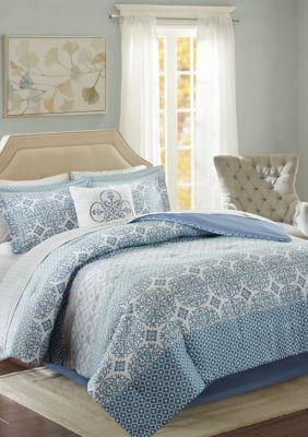 Madison Park Essentials Sybil Complete Comforter Set Blue Blue