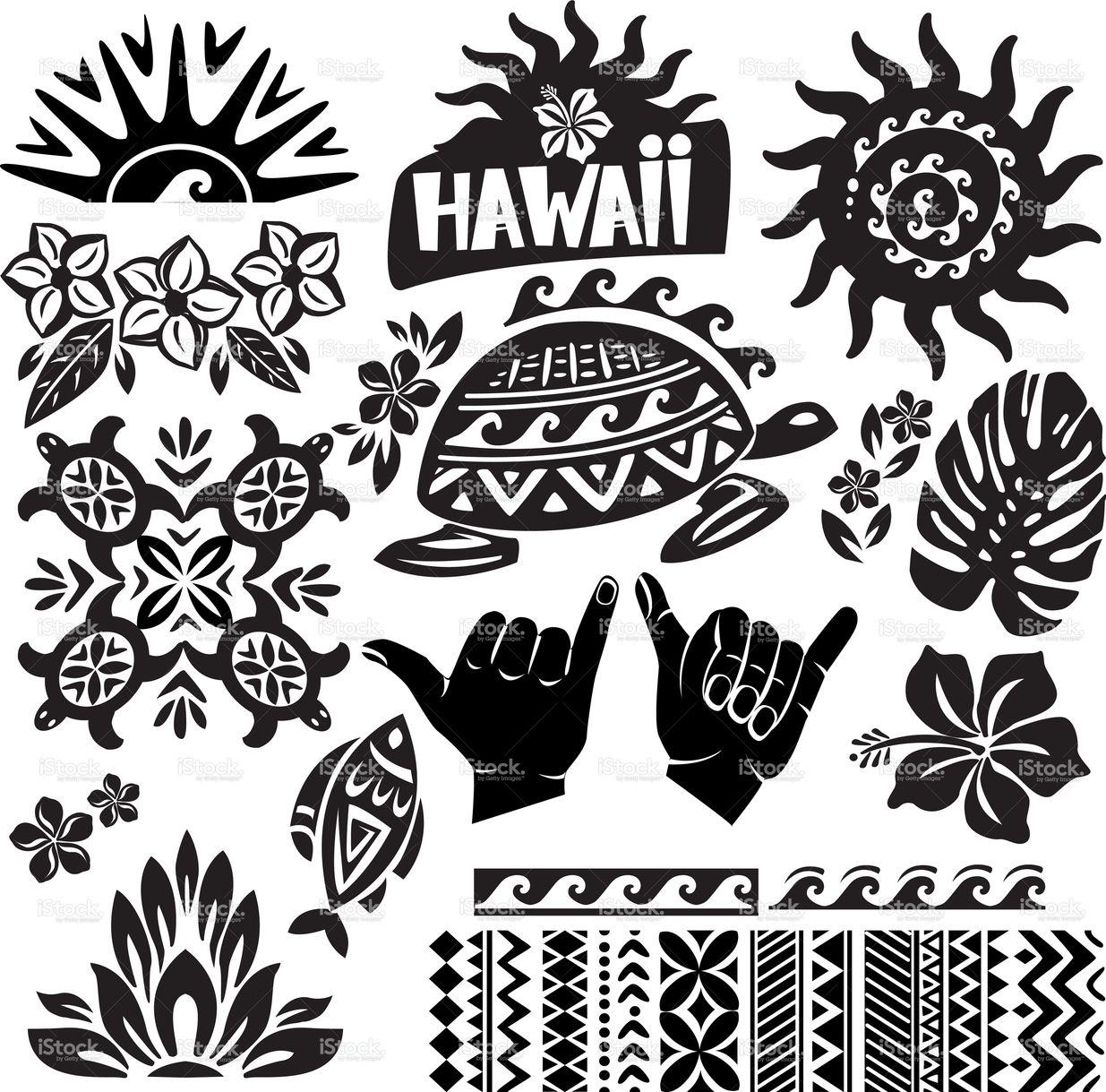 Hawaii Set in black and white Hawaiian tattoo, Hawaii