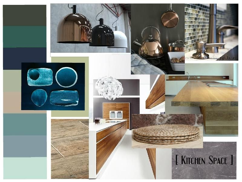Kitchen Space Mood Board Aqua Teal Green Colors Combined With Tactile Textures Copper And