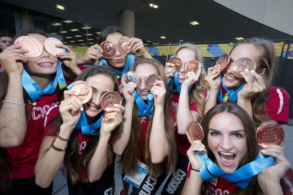 #YorkU's Katrina Cameron and #TeamCanada rhythmic gymnastic team with their double bronze win.