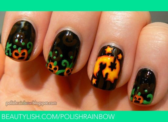 Halloween Jack O Lantern nails | Halloween nail art ...