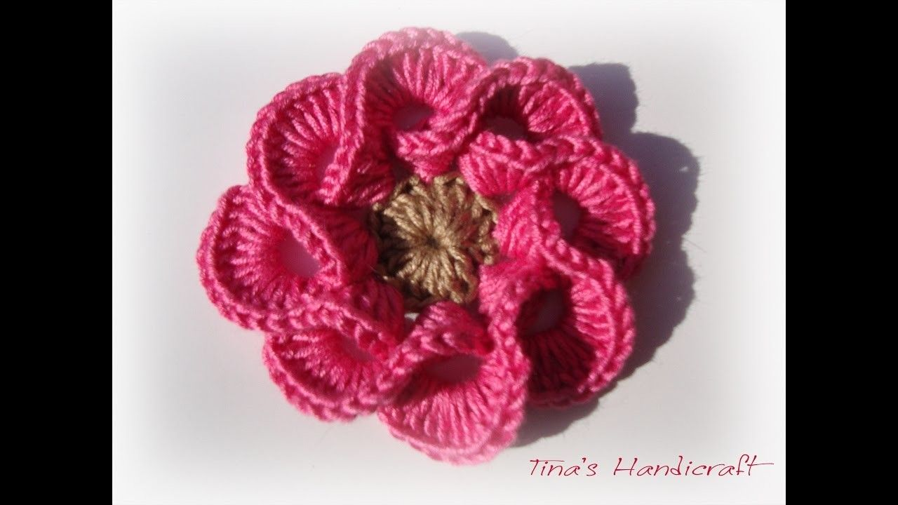 3D crochet flowers multi petals   Rose und Blumen