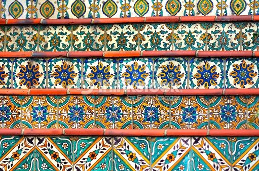 Colorful Spanish Tiles Decoration On Stairway Background