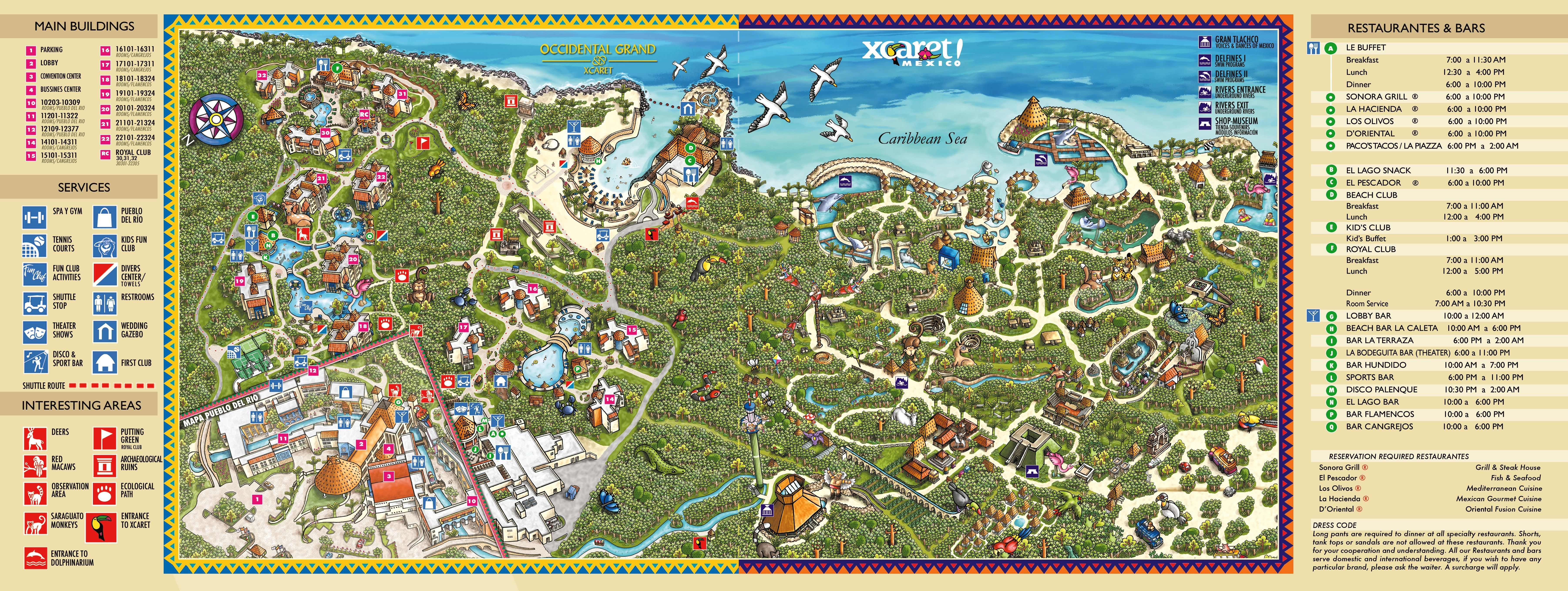 Occidental grand xcaret map occidental grand xcaret for Oficina xcaret cancun