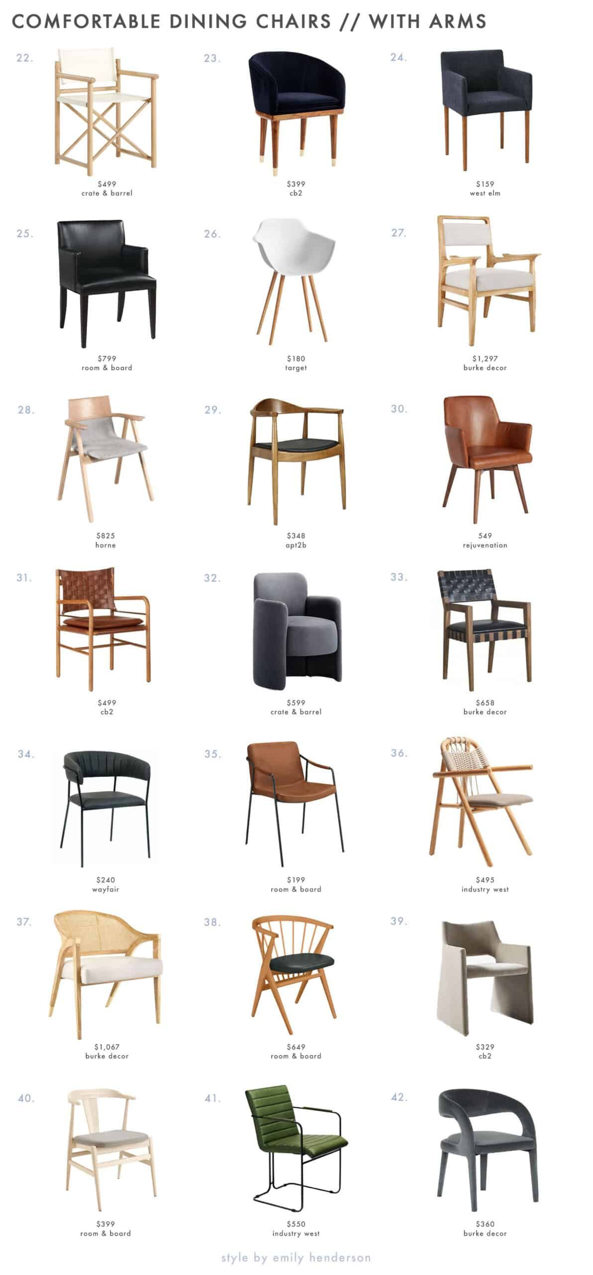 93 Dining Chairs That Meet All Your Comfort Needs Rules For Picking Them Out Emily Henderson Comfortable Dining Chairs Leather Dining Room Chairs Dining Chairs Comfortable dining chairs with arms
