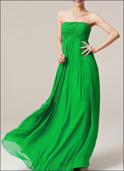 Grünes Empire Abendkleid Chiffon | Brautjungfernkleid ...