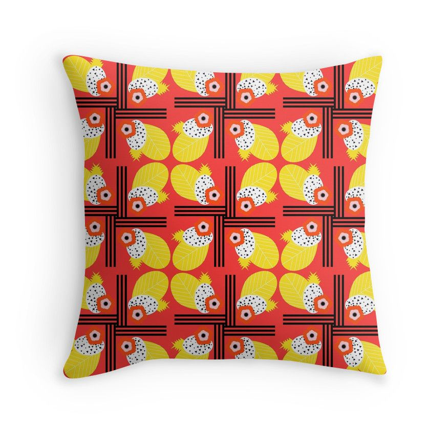Fruity floral in red  #homedecor #pillow #tropical #CocoDes