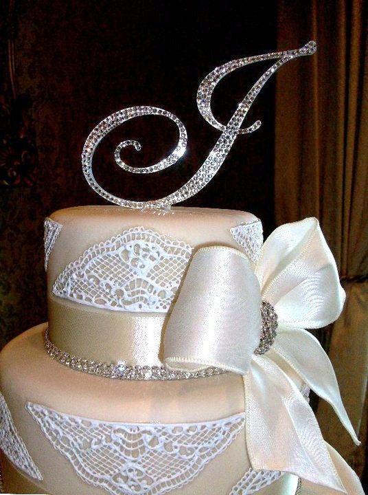 5 Swarovski Crystal Monogram Cake Topper Any Letter From The Alphabet A B C D E F G H I J K L M N O P Q R S T U V W X Y Z 59 95 Via Etsy