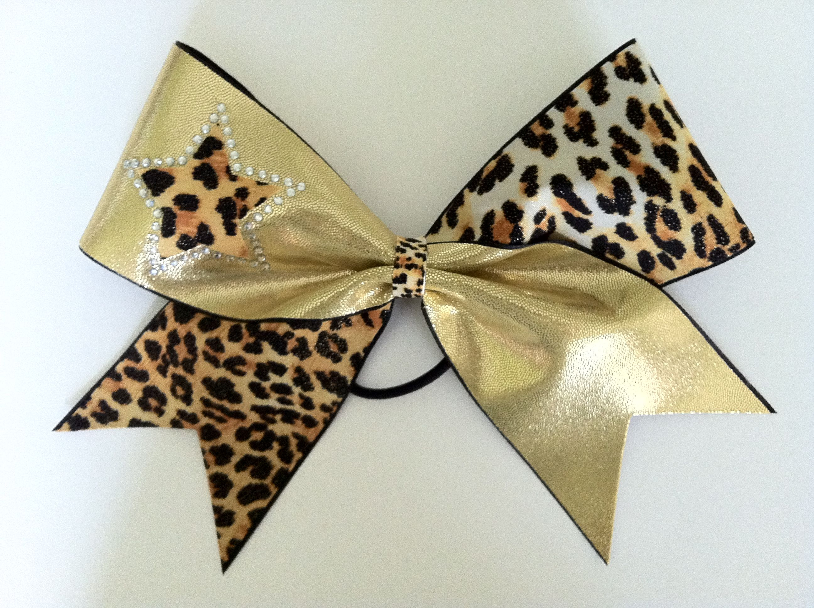 Gold cheetah cheer bow with star and crystals by Lucky Girl Cheer Bows