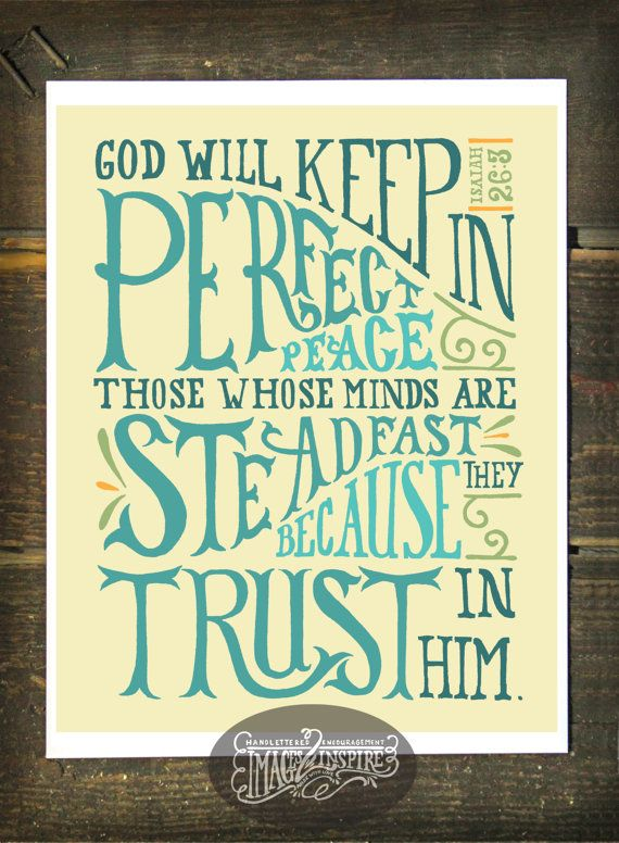 Isaiah 26:3 Hand lettered 8x10 print  Instant by Images2Inspire