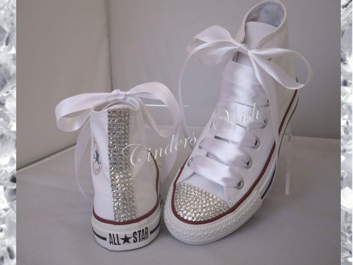 0f22d6556706 Classic sparkle converse   high top bling converse   customised diamante  converse   wedding converse   by CindersWish on Etsy