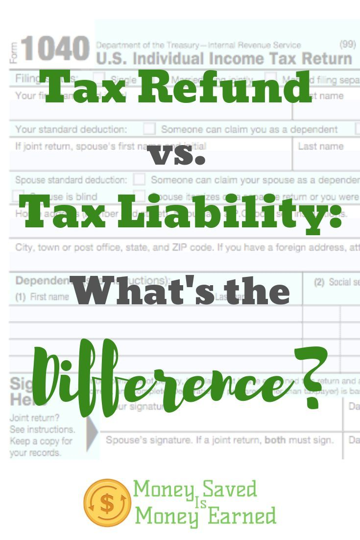 Tax Refund Vs Tax Liability What S The Difference Money Saved Is Money Earned Tax Refund Child Tax Credit Saving Money