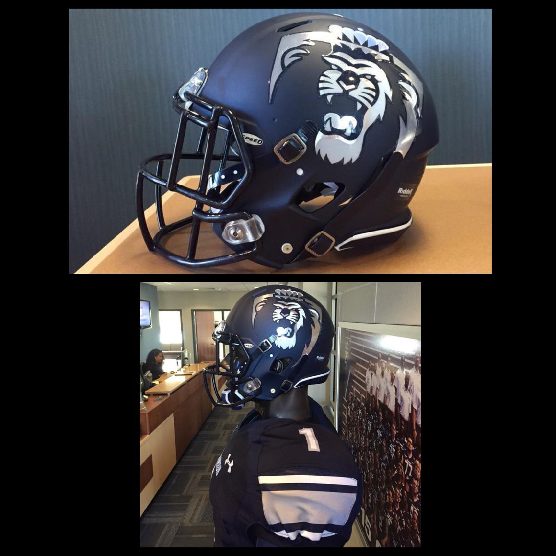 Check out the new chrome football helmet decals for Old