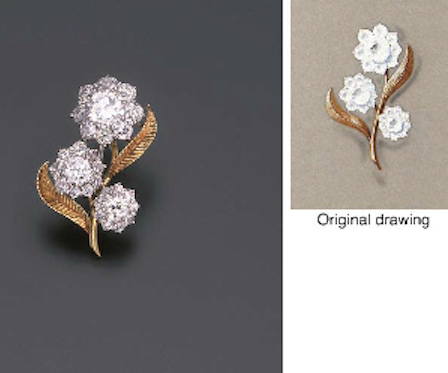 A DIAMOND FLORAL BROOCH, MOUNTED BY CARTIER  Designed as a spray of three graduated old and circular-cut diamond floral clusters with textured leaves, sold together with original drawing by Cartier, circa 1955, 3.9 cm. high Signed Mtd. Cartier London