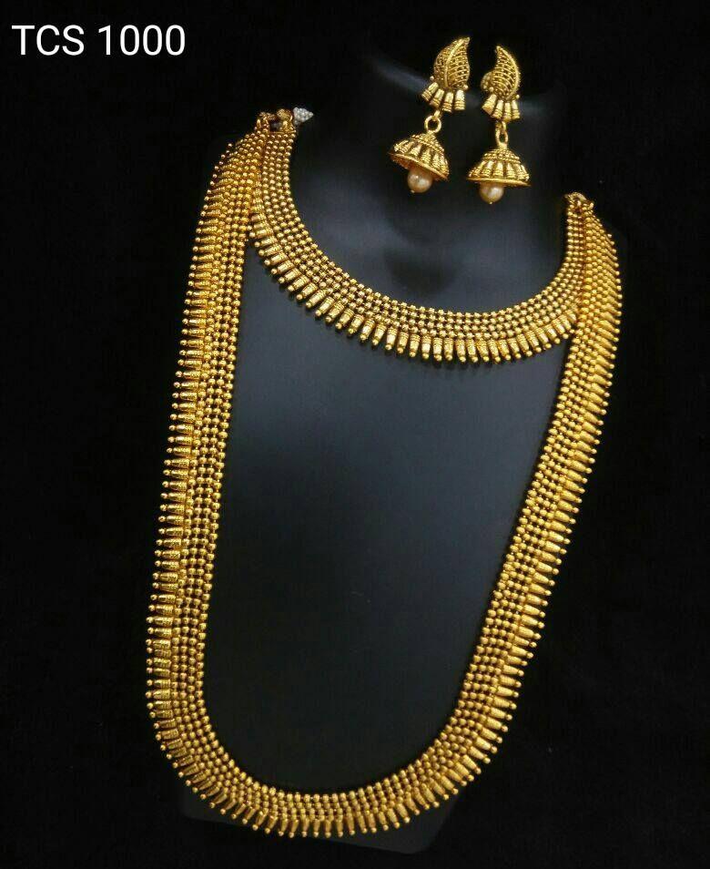 Gold Plated Bridal Set with Matching Jhumkas | Bridal sets, Kerala ...