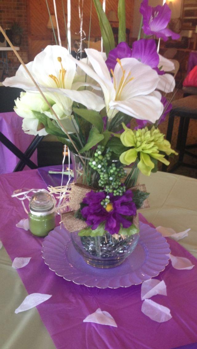 Purple center piece table