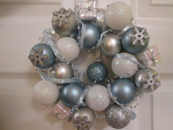 Christmas Wreath, White Wreath, Bauble wreath, Blue Wreath, Silver Decor, Silver wreath, Mini Wreath, Small Wreath, Glitter wreath,
