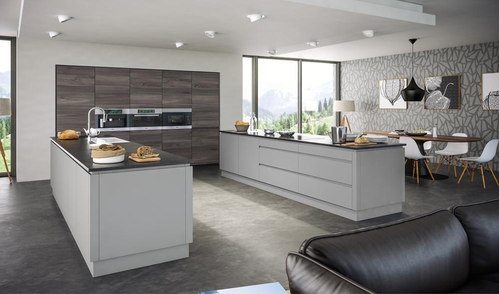 Best Rothwell Light Grey Matt Handleless Kitchen Doors 400 x 300
