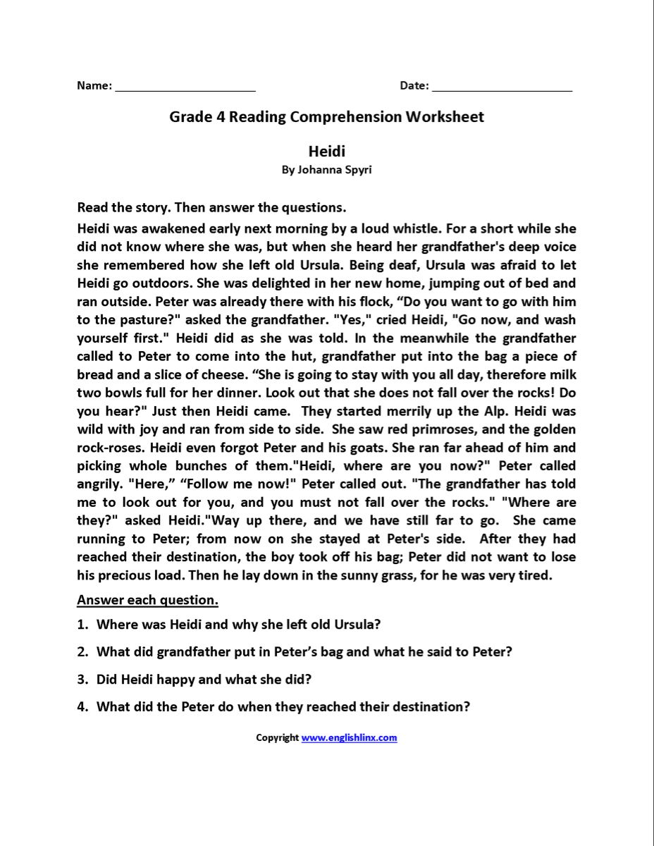 Reading Worksheets Fourth Grade Reading Worksheets Reading