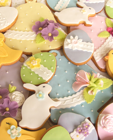 Lovely Easter cookies.  Simple decorating ideas for easter cookies.